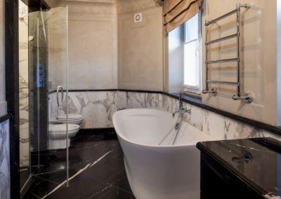 Мрамор в интерьере ванной Calacatta, Nero Marquina-mixt - brushed, antic - 2cm