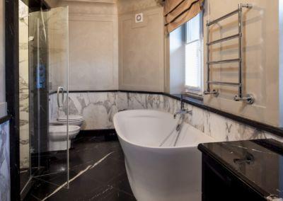 Мarmura pentru baie Calacatta, Nero Marquina-mixt - brushed, antic - 2cm