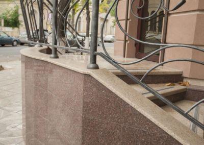 Piatra pentru soclu. Granit exterior G681, Imperial Red, mixt-2cm -lustruit